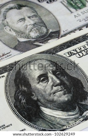 one hundred U.S. dollar shows a close-up