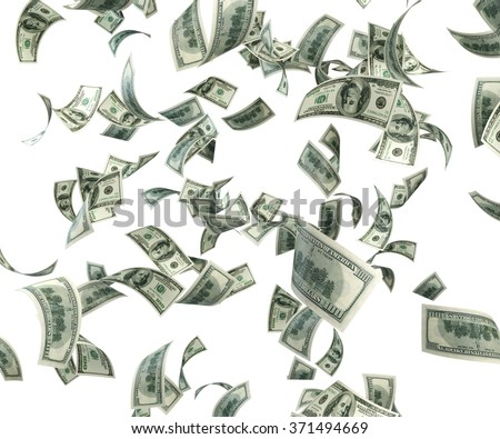 One hundred US dollar bills are falling on white background. Great use for money and finance related concepts. Isolated on white background. Clipping path is included.  - stock photo