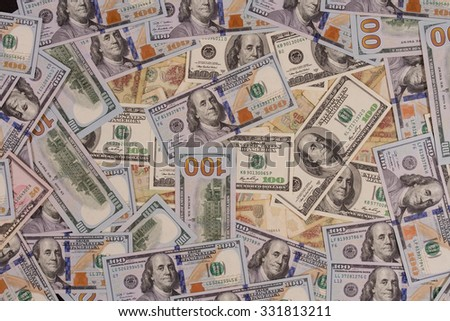 One hundred US dollars. One Soviet ruble. Many banknotes. Benjamin Franklin, Independence Hall. - stock photo