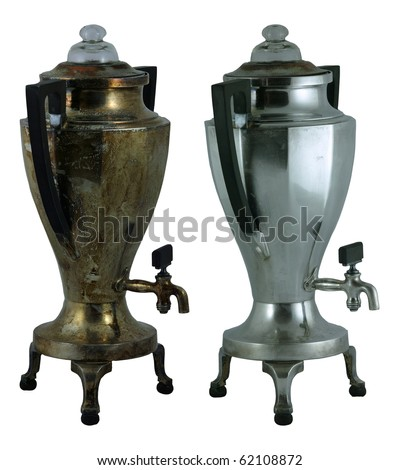 One hundred year old percolator before and after polishing