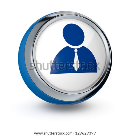 one icon with the businessman symbol (3d render) - stock photo