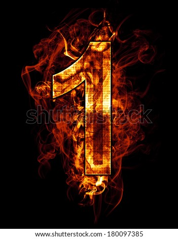 one, illustration of  number with chrome effects and red fire on black background - stock photo