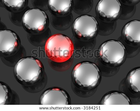 One individuality red ball render. - stock photo