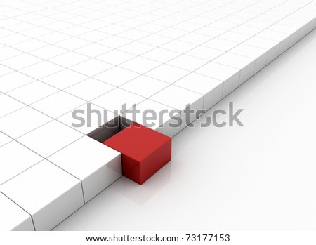 One individuality red cube on white background. - stock photo