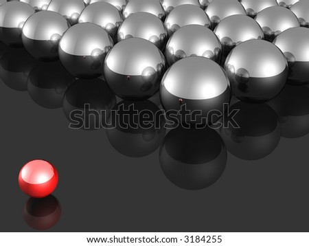 One individuality small red ball render. - stock photo