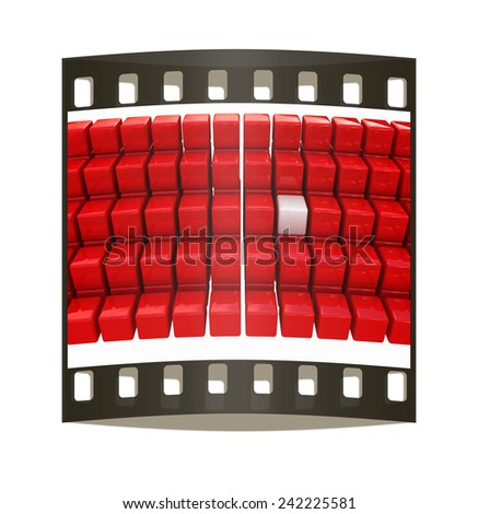 One individuality white cube among the red cubes isolated on white background. The film strip - stock photo