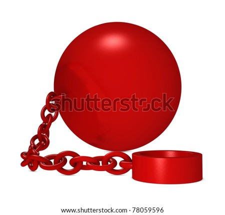 one iron ball with chain and blank space for your text (3d render) - stock photo