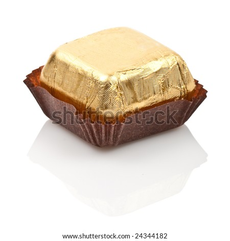 one isolated sweet chocolate  candy on white background - stock photo