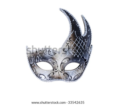 one isolated Venetian theatre mask in silver color - stock photo