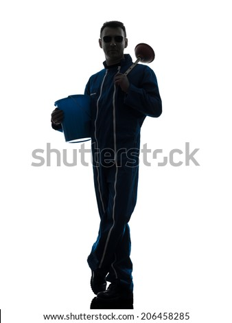 one  janitor cleaner cleaning silhouette in studio on white background - stock photo