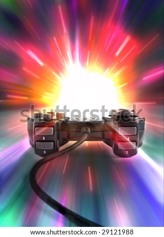 one joypad on colored background - stock photo