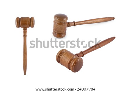 One judge's gavel photo collection isolated on white - stock photo