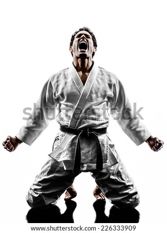 one judoka fighter man in silhouette on white background - stock photo