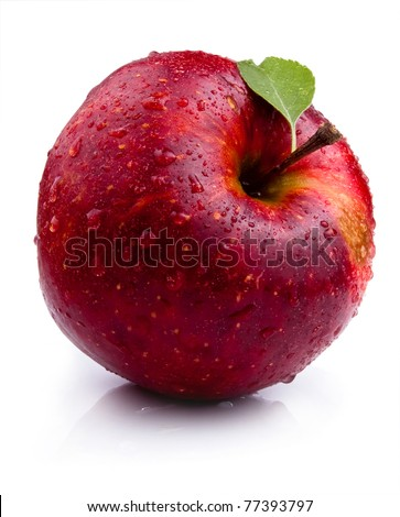 One Juicy red apple with leaves and water droplets - stock photo