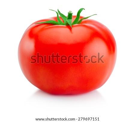 One juicy red tomato isolated on white background - stock photo