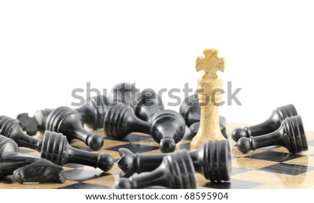 One king stands over all of the dead from the opposing side, concept. - stock photo