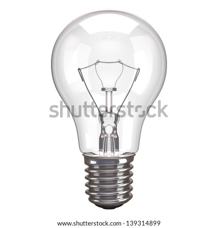 One lamp bulb isolated on white background.