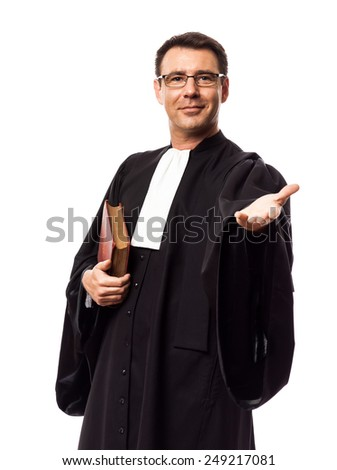 one  lawyer man in studio isolated on white background