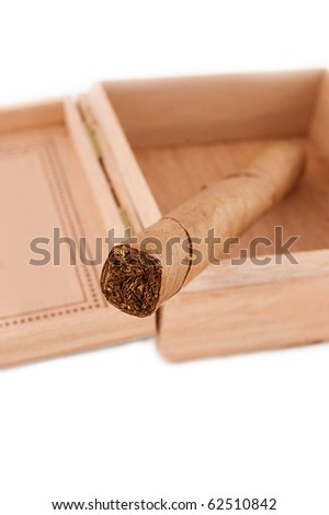 One left cigar in wooden box over white - stock photo
