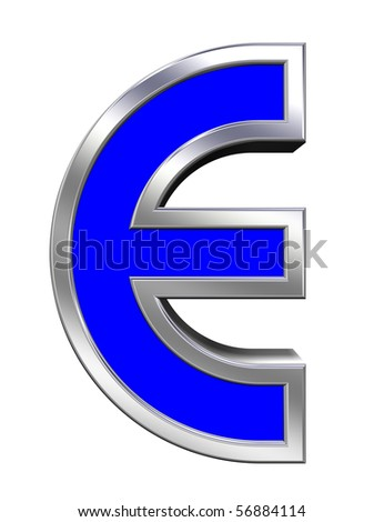 One letter from blue with chrome frame alphabet set, isolated on white. Computer generated 3D photo rendering.