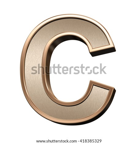 One letter from brushed copper with shiny frame alphabet set, isolated on white. 3D illustration.