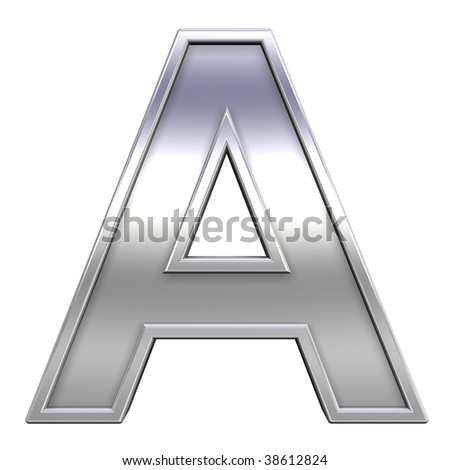 One letter from chrome with frame alphabet set, isolated on white. Computer generated 3D photo rendering. - stock photo