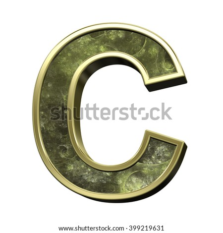 One letter from fractal alphabet set isolated over white. 3D illustration,