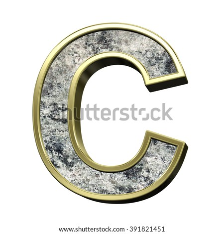 One letter from granite with gold frame alphabet set isolated over white. Computer generated 3D photo rendering.