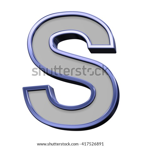 One letter from gray with blue frame alphabet set, isolated on white. 3D illustration.