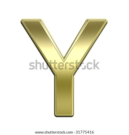 One letter from shiny gold alphabet set, isolated on white. Computer generated 3D photo rendering.