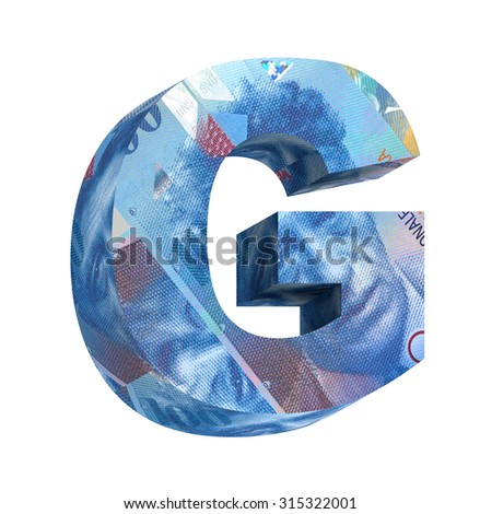 One letter from swiss franc bill alphabet set isolated over white. Computer generated 3D photo rendering. - stock photo