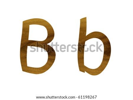 One letter from teak veneer alphabet: the letter B