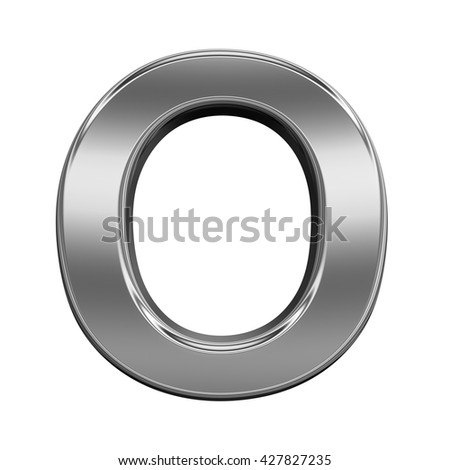 One letter from titanium alphabet set, isolated on white. 3D illustration.