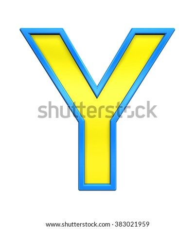 One letter from yellow glass with blue frame alphabet set, isolated on white. Computer generated 3D photo rendering.