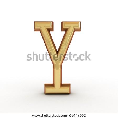 One letter of golden alphabet - stock photo