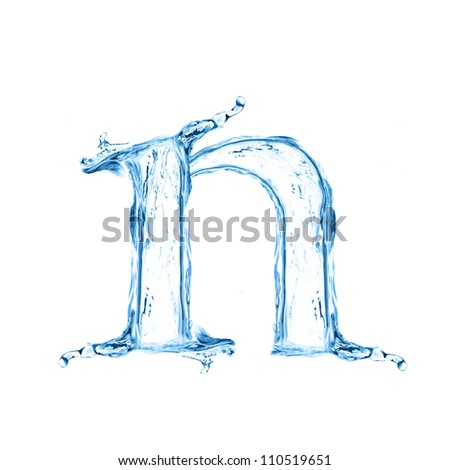 One letter of water alphabet isolated on white