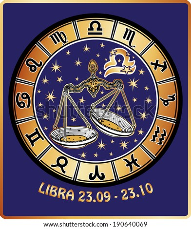 One Libra  with symbols of all zodiac signs in Horoscope circle.Golden and white figure on blue background.Graphic Illustration in retro style.   - stock photo