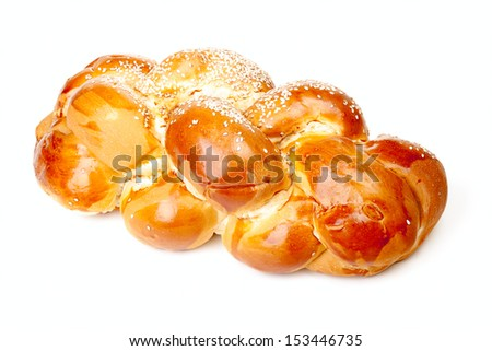 One light braided challah with seeds isolated on white background - stock photo