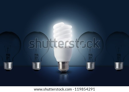 One Light bulb turn on. Concept for outstanding key person or creative idea - stock photo