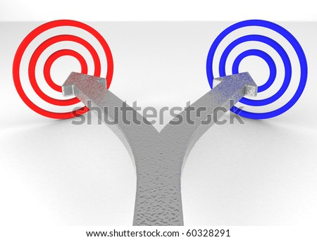 One line that splits into two arrows pointing at two targets of different color. - stock photo