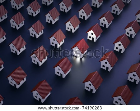One lit house at night - stock photo