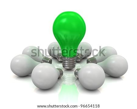 One lit light bulb. Concept of unique. - stock photo