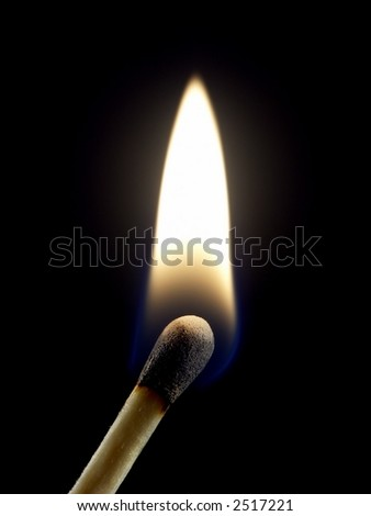 One lit wooden matchstick isolated on black background.