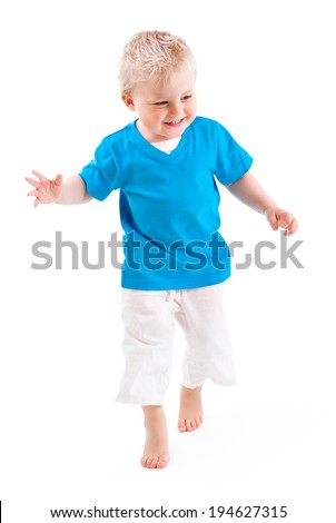 ONE LITTLE BOY ON WHITE BACKGROUND - stock photo