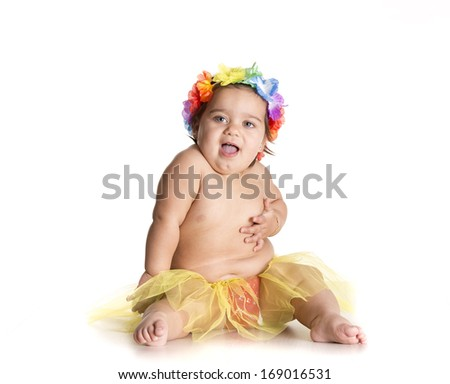 one little girl dressed in a Hawaiian crown