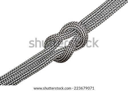 one little knot with ropes on white background