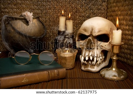 One little mouse in a halloween scene - stock photo