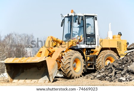 One Loader excavator construction machinery equipment - stock photo