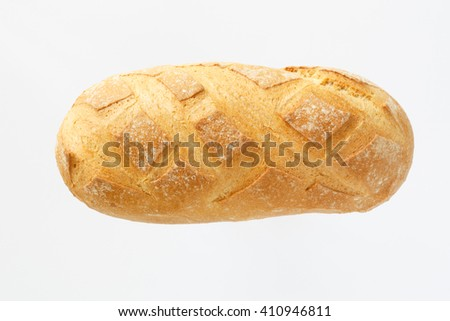 one loaf of bread, not white. view from above. pastry flour