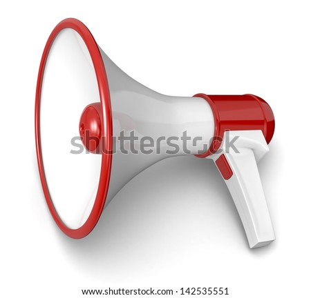 one loudhailer in red and white colors (3d render) - stock photo